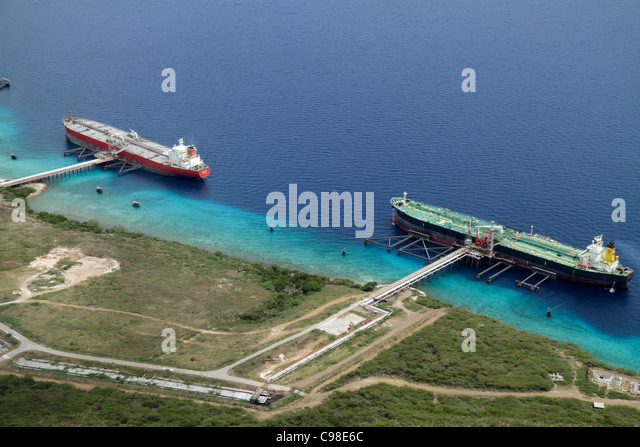 Curaçao Netherlands Antilles Dutch Caribbean Sea Bullenbaii Terminal aerial navigation commercial oil tanker - Stock Image