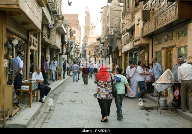 Street scene, Khan al Khalili market, Islamic quarter, Cairo Egypt - Stock Image