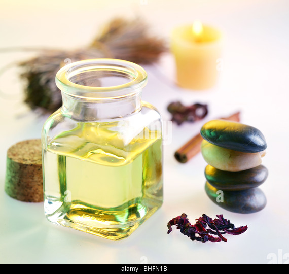 Still life with massage oil in the spa salon - Stock-Bilder