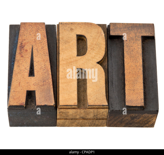art - isolated word in vintage letterpress wood type - Stock Image