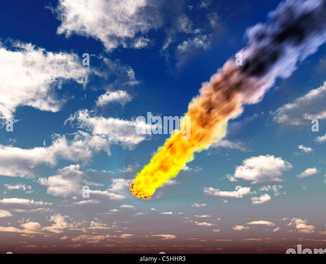 Meteorite in Earth's atmosphere, artwork - Stock Image