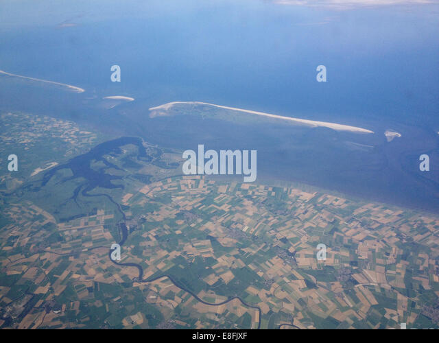 Denmark, Agricultural land and sand bars - Stock Image