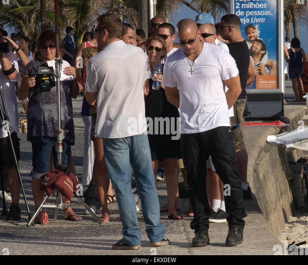 05.NOVEMBER.2010. RIO DE JANEIRO, BRAZIL    AMERICAN ACTOR VIN DIESEL WITH CO-STARS TYRESE GIBSON, LUDACRIS, PAUL - Stock Image