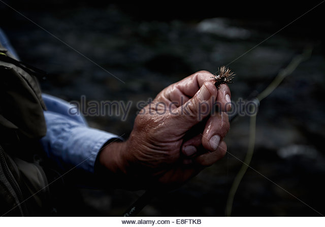 Close-up of an Angler holding fishing tackle fly - Stock Image