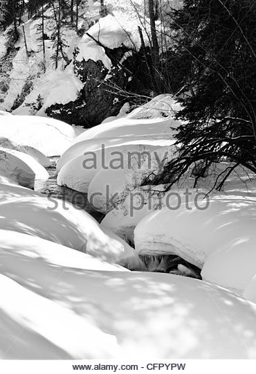 Rolling Snow over Henson Creek, Engineer Pass Road along the Alpine Loop, Lake City, Co., March 19, 2008 - Stock Image