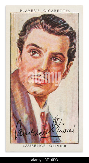 Laurence Olivier Player's Cigarette Card Portrait - Stock Image