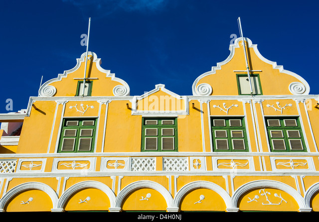 The colourful Dutch houses at the Sint Annabaai in Willemstad, UNESCO World Heritage Site, Curacao, ABC Islands, - Stock Image