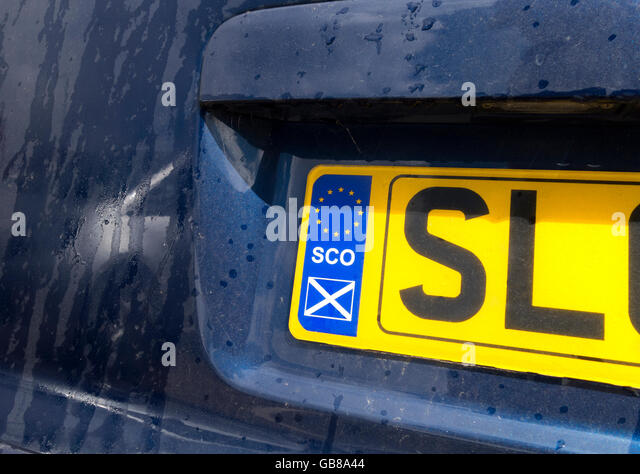 Scottish License Plate or Number Plate, Numberplate with Scottish EU country designator. After the Brexit referendum - Stock Image
