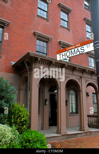 Rhode Island Providence College Hill Thomas Street apartment building - Stock Image
