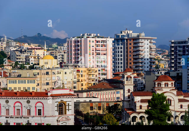 Durres Albania skyline displays old and modern buildings and architecture. - Stock Image