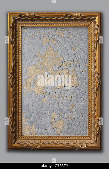 Collage artwork on wooden frame - Stock Image