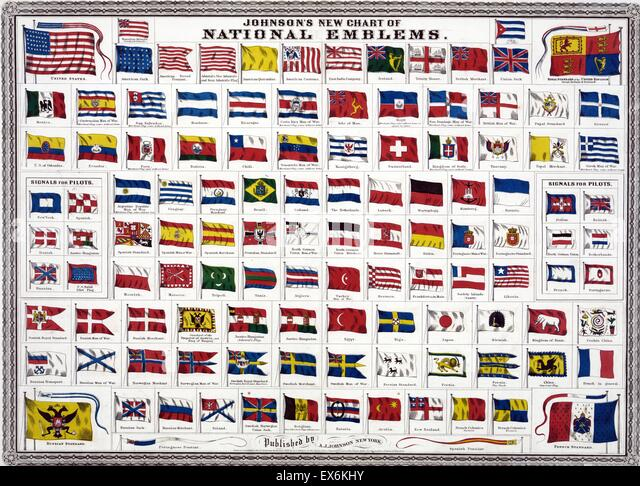 world national and colonial flags 1914 - Stock-Bilder