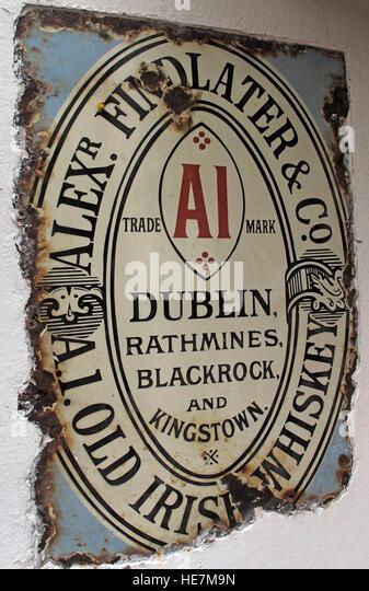 A1 Findlater Old irish Whiskey Metal Sign, Belfast, Northern Ireland,UK - Stock Image