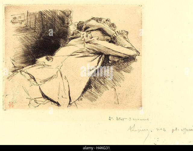Auguste Lepère, French (1849-1918), Reclined Woman Sleeping (Femme couchee sommeillant), 1892, etching with - Stock-Bilder