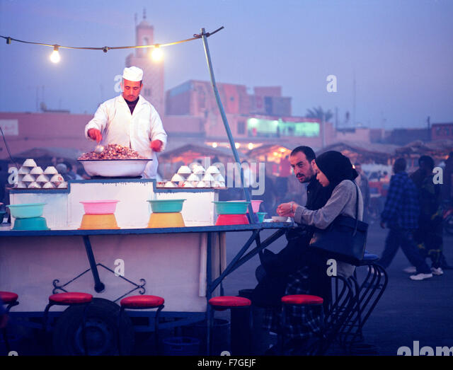 A snail, escargo, food stall at the Djemma el Fna food market in Marrakech. Morocco - Stock Image