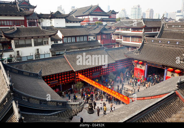 Temple, Yuyuan Gardens, Shanghai, China - Stock Image