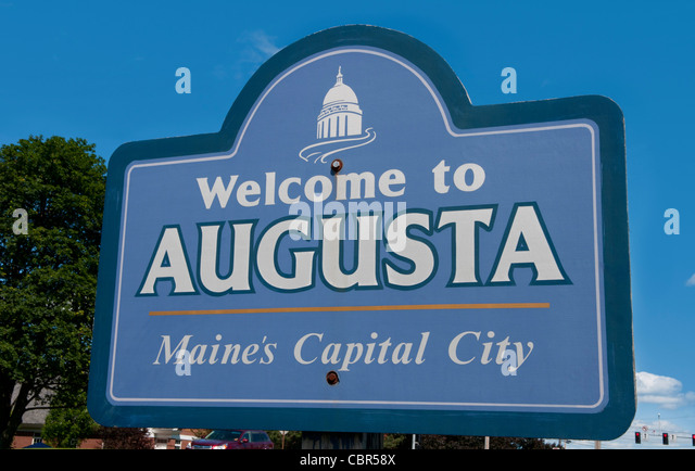 Augusta maine capital city of maine welcome sign stock image