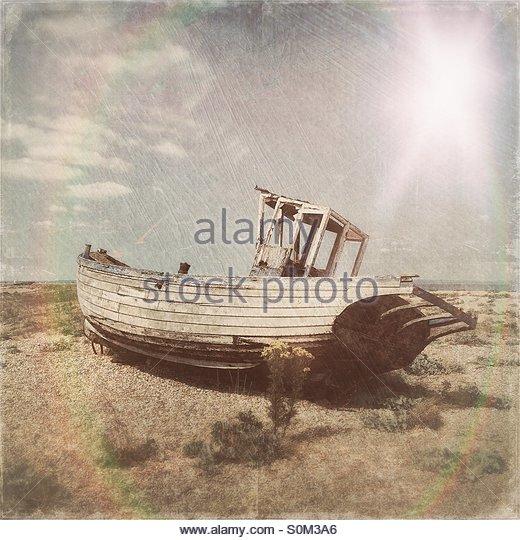 Abandoned Fishing Boat, Dungeness, Kent - Stock Image