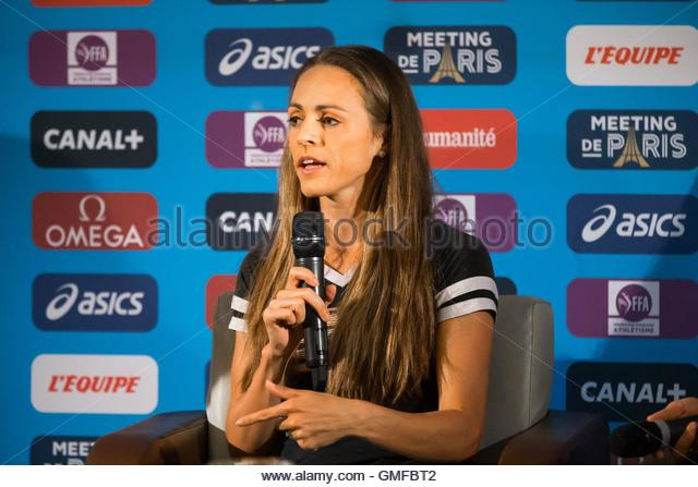 Paris, France. 26th Aug, 2016. American middle distance runner and steeplechaser Jennifer Simpson takes part in - Stock Image
