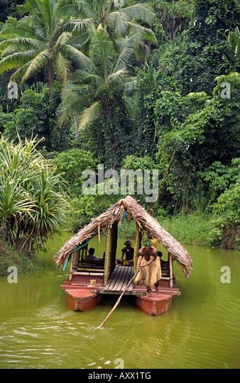 south pacific Fiji Vitu Levu traditional village tour on Sigatoka river - Stock Image
