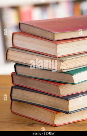 Stack Of Books On Table - Stock Image