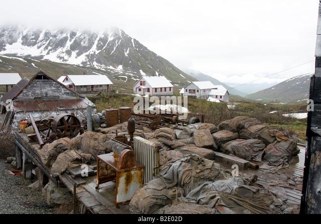 Abandoned Independence mine at Hatcher pass, Alaska, USA - Stock Image