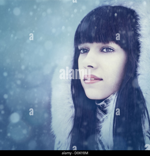 Winter girl. Beauty female portrait - Stock Image