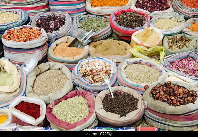 spices in middle east market cairo egypt - Stock Image