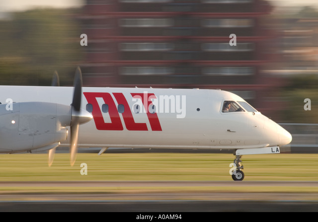 OLT Saab 2000 at London City Airport London UK - Stock Image