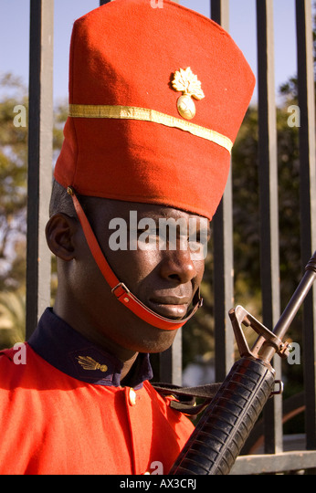 Travel, Senegal, Dakar, Local man, Presidential Palace guard, - Stock Image