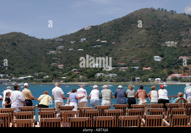 BVI Tortola Holland America Caribbean cruise ms Noordam Road Bay Observation Deck - Stock Image