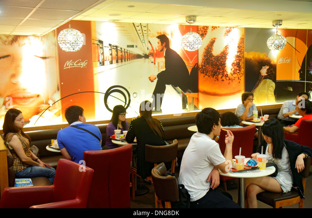 Hong Kong China Island North Point King's Road McDonald's restaurant fast food inside interior dining area - Stock Image