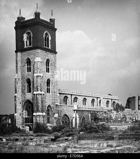 WW2 Bomb Damage - Church of St John's Cripplegate London in August 1946 - Stock Image