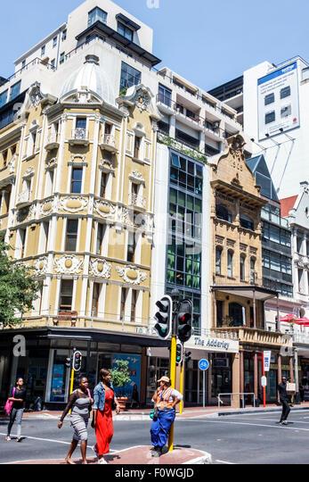 Cape Town South Africa African City Centre center Adderley Street skyline buildings pedestrians - Stock Image