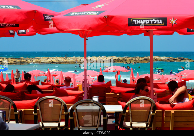 Israel, Tel Aviv Holidaymakers on the beach - Stock Image
