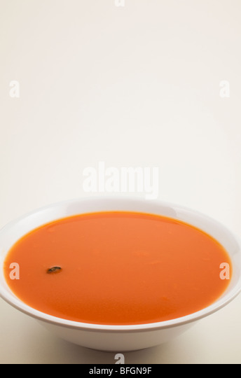 Bowl of tomato soup with dead housefly floating on surface - Stock Image