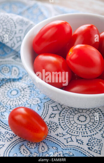 A Close Up of Fresh Grape Tomatoes in a Bowl - Stock Image