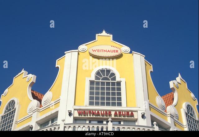 aruba shopping mall bright colorful facade - Stock Image