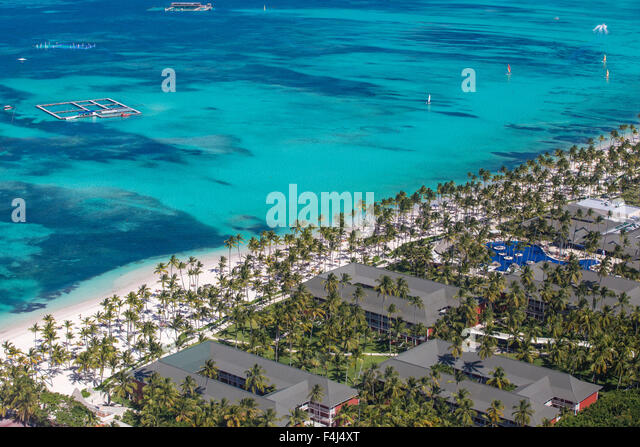 View of Bavaro Beach, Punta Cana, Dominican Republic, West Indies, Caribbean, Central America - Stock Image
