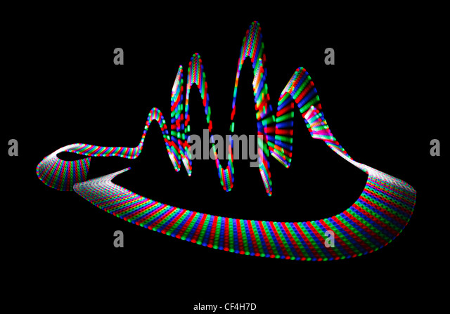 Multi-coloured wavy trace of light-emitting diode on black background. - Stock Image
