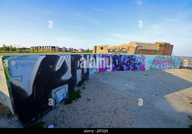 In Gunners Park, Shoeburyness World War Two features survive including a beach defence headquarters (converted searchlight - Stock Image