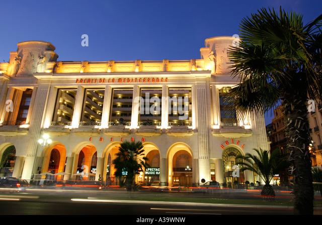 France Nice Promenade des Anglais Palais de la Mediterranee Hotel Casino theatre - Stock Image
