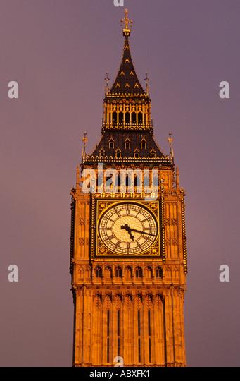 Europe United Kingdom Great Britain UK London England House of Parliament Big Ben Clock Tower at Sunset - Stock Image