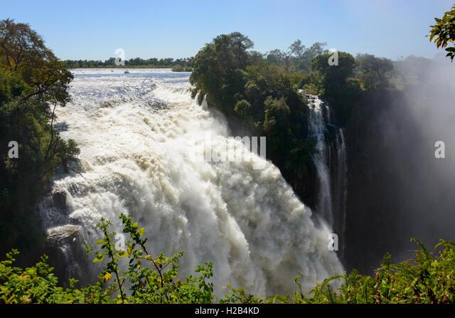 River Zambezi, Victoria Falls, Zambia and Zimbabwe, Africa - Stock Image