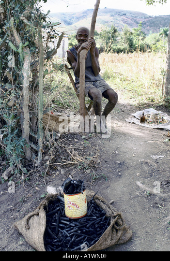 HAITI NEAR VERRETTES.ELDERLY MAN SELLING CHARCOAL,USED FOR COOKING. HAITI HAS A SEVERE PROBLEM WITH DEFORESTATION - Stock Image