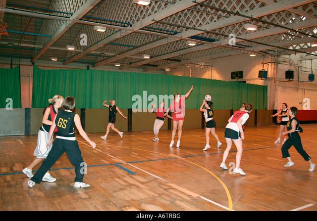 Women's indoor netball match - Stock Image