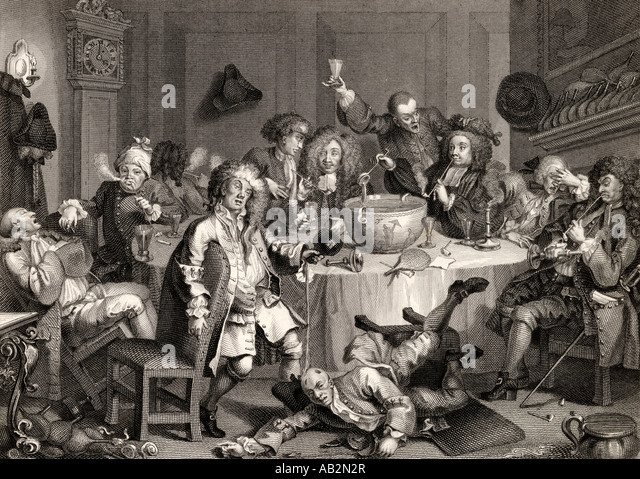 A Midnight Modern Conversation From the original picture by Hogarth - Stock Image