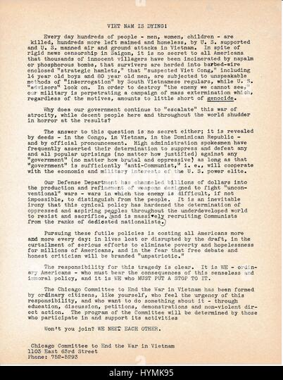 A Vietnam War era leaflet from The Chicago Committee to End the War in Vietnam titled 'Viet Nam is Dying!' - Stock Image