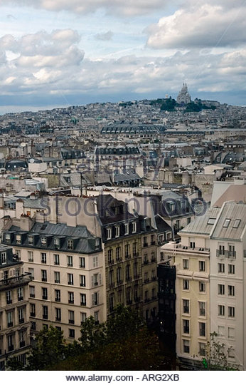 Paris France Cityscape with Church Sacre Coeur in Montmartre in the distance - Stock Image