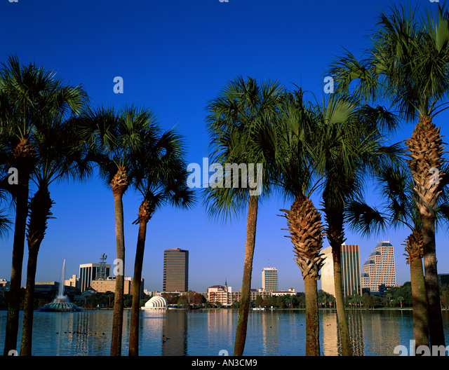 City Skyline / Lake Eola & Fountain / Palm Trees, Orlando, Florida, USA - Stock Image